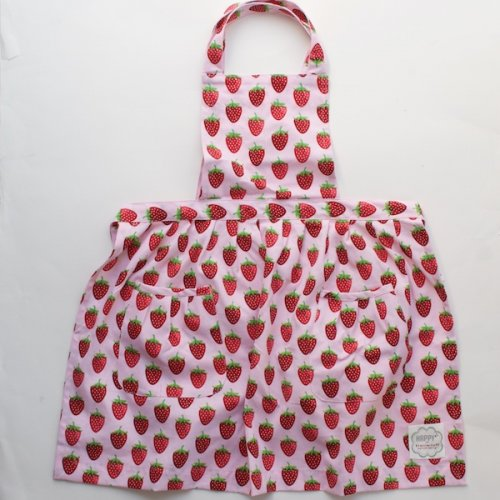 Cotton Pink Strawberry Kids Apron by KrasilHikoff